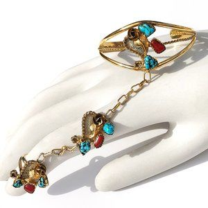Sterling Silver 12k GF Navajo Turquoise Bracelet